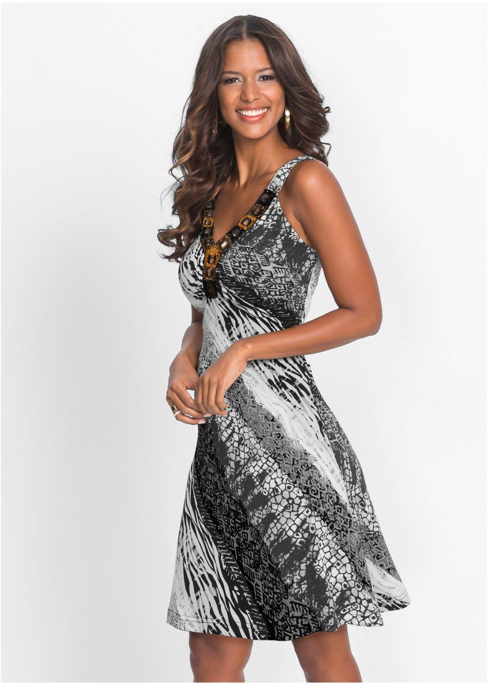 e3c564b1b315 Sommerkleid schwarz weiß gemustert - BODYFLIRT boutique online kaufen -  bonprix.de