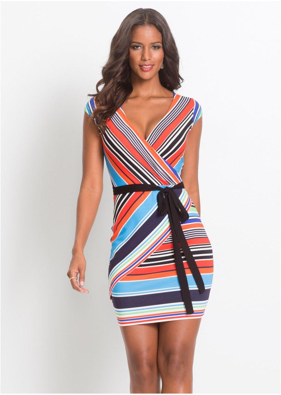 Kleid mit Streifenprint rot/weiß/blau gestreift ...