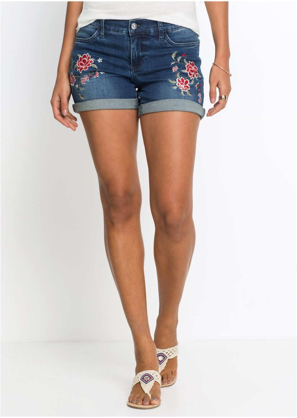 Schöne Jeans-Shorts mit Stickerei und Umschlagsaum - blue stone c403d1843c