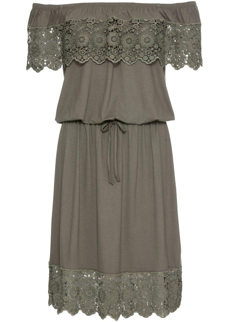 Traumhaftes Carmen-Kleid mit breiten Spitzenborten - schlammgrün aZndn RJrLR