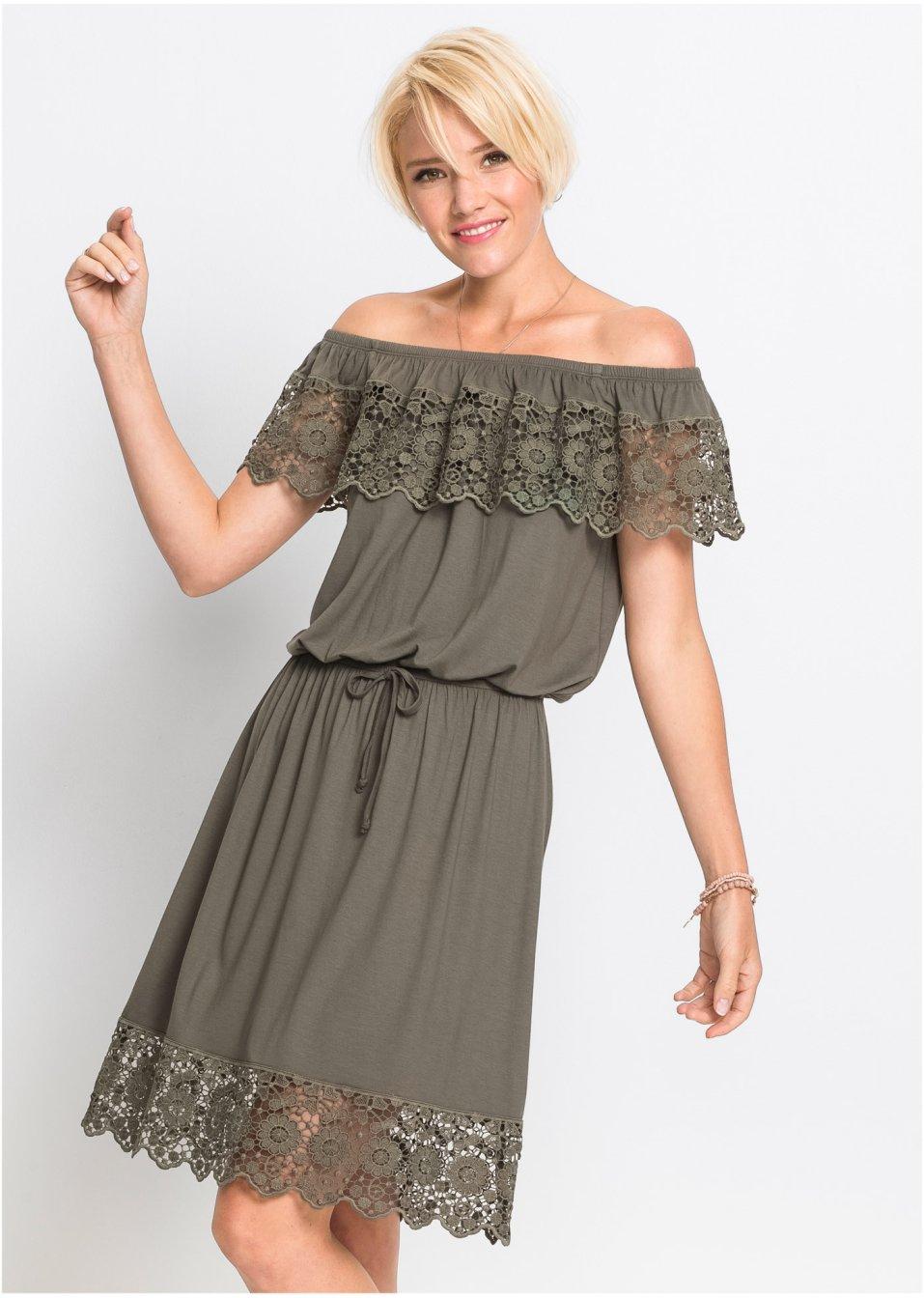 Kleid mit Carmenausschnitt schlammgrün - RAINBOW online ...