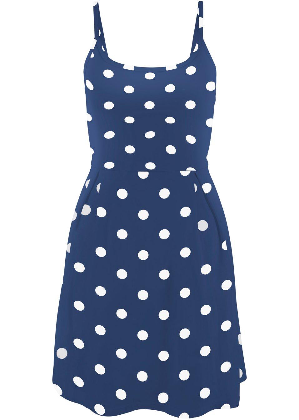 Leicht ausgestelltes bedrucktes Shirtkleid mit Baumwolle und verstellbaren Trägern - mitternachtsblau/weiß gepunktet qKbBa o4nGY
