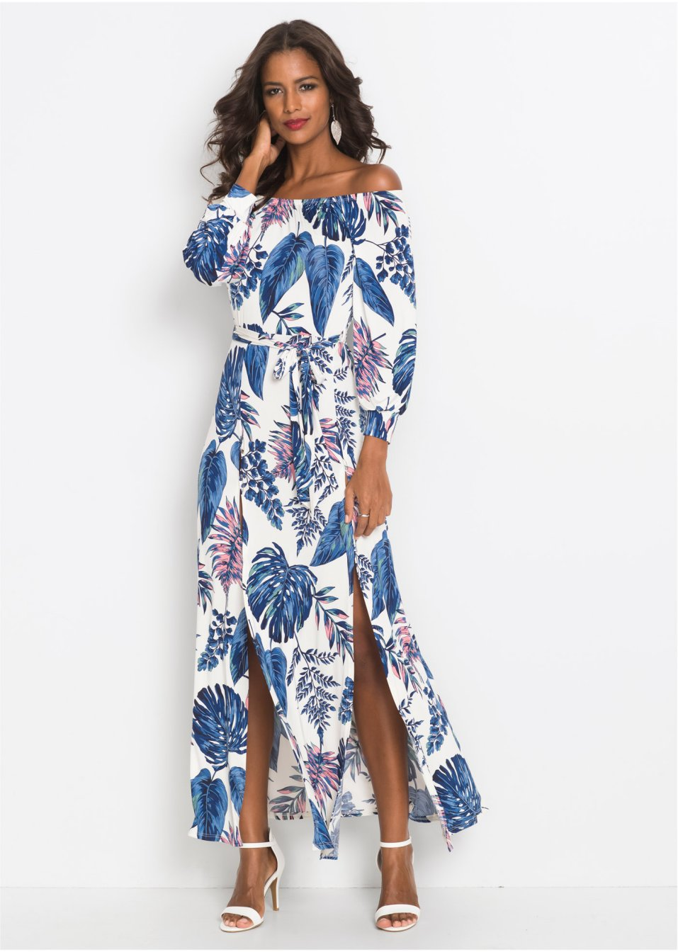 7e4a2190b43 Maxikleid mit Print weiß blau gemustert - Damen - BODYFLIRT boutique -  bonprix.de