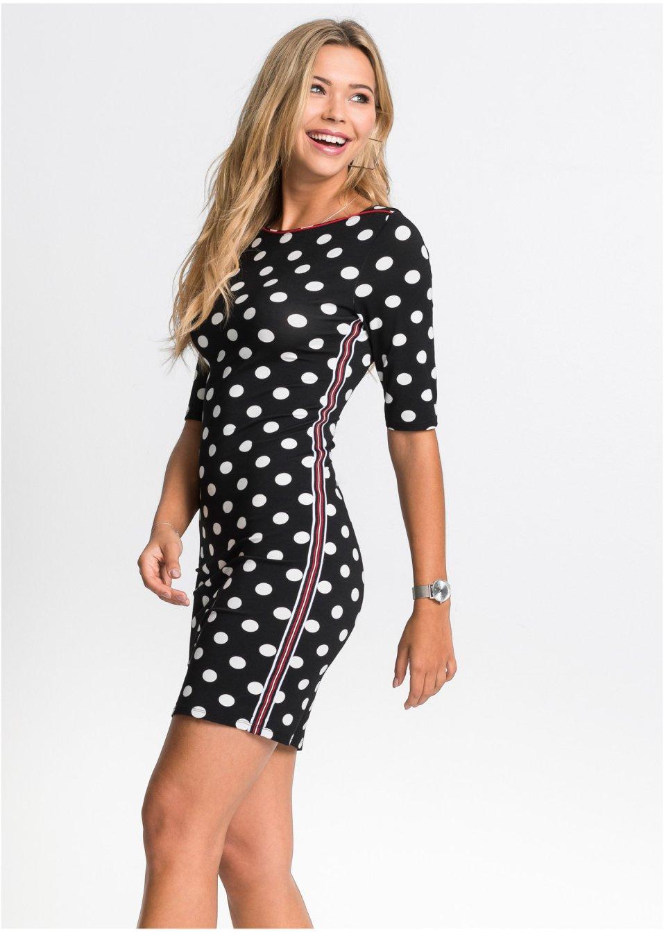 Kleid mit Punkten und Galonstreifen schwarz/weiß gepunktet ...