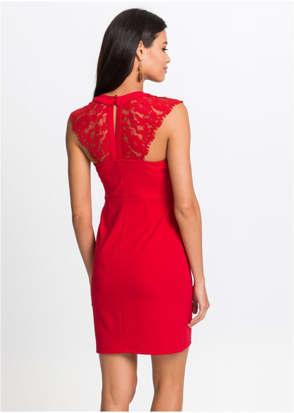 Kleid mit Spitze rot - Damen - BODYFLIRT - bonprix.de
