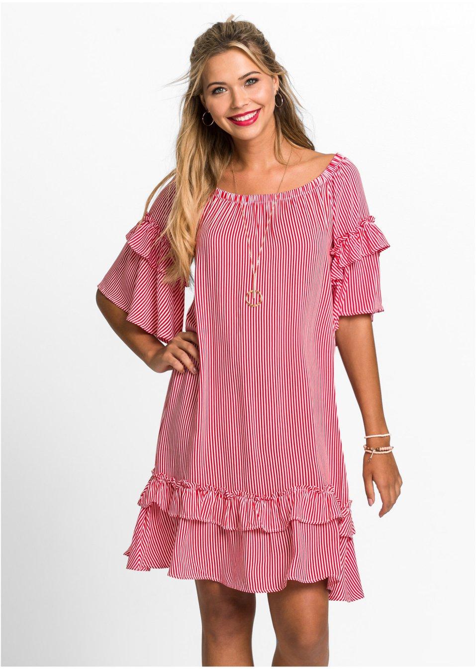 Gestreiftes Volant-Kleid mit Carmenausschnitt - rot/weiß ...