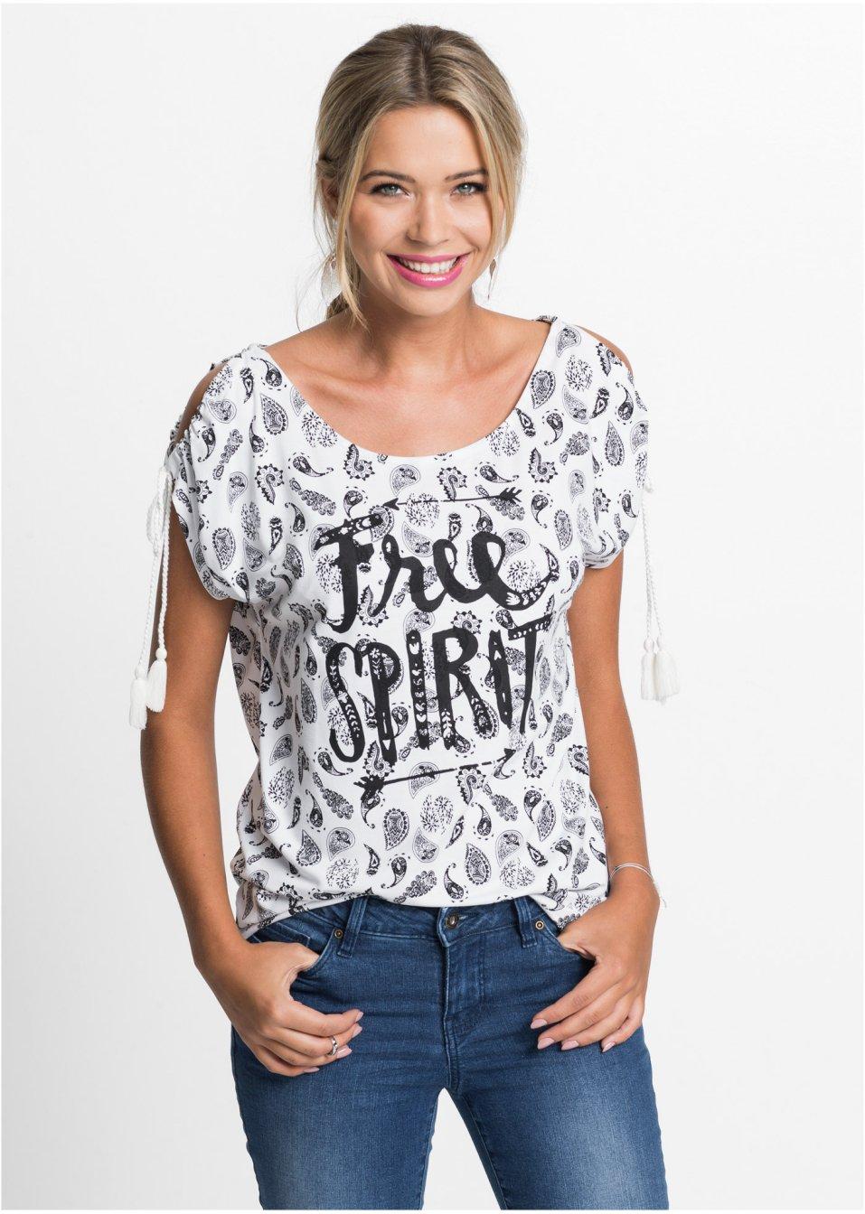 132e31f04f5902 Angesagtes Kurzarm-Shirt mit geschlitzten Ärmeln und Kordeln - weiß schwarz  bedruckt
