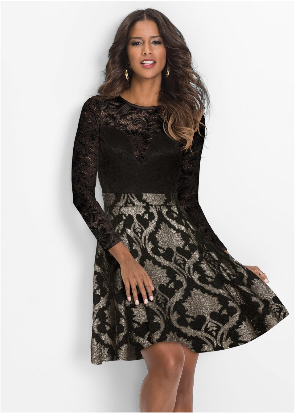 Kleid mit Spitze schwarz - Damen - BODYFLIRT boutique ...