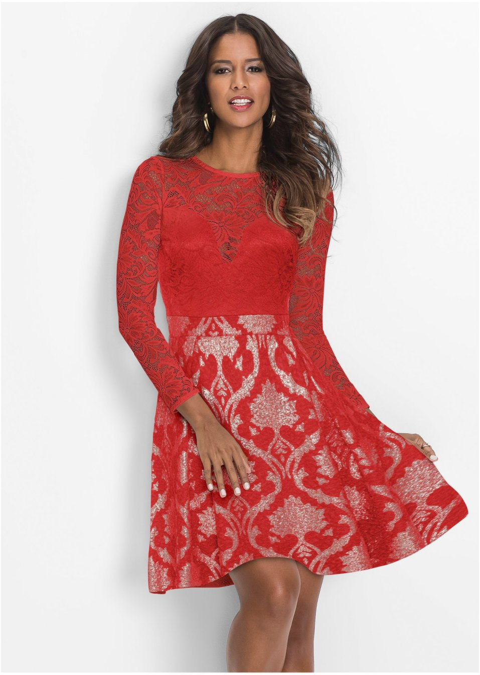 Kleid mit Spitze himbeere - Damen - BODYFLIRT boutique ...