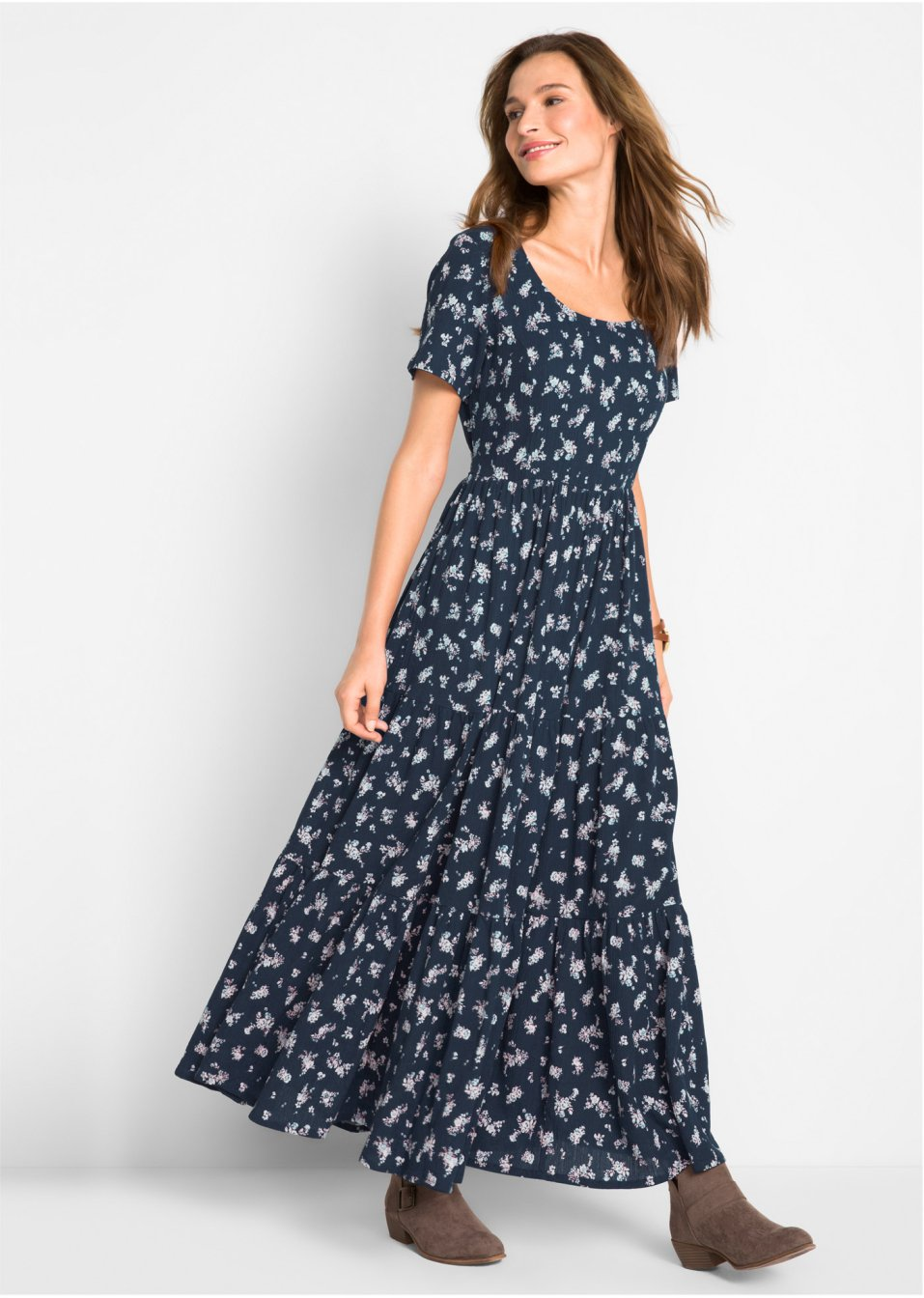 Langes Kleid mit Allover-Muster - dunkelblau geblümt