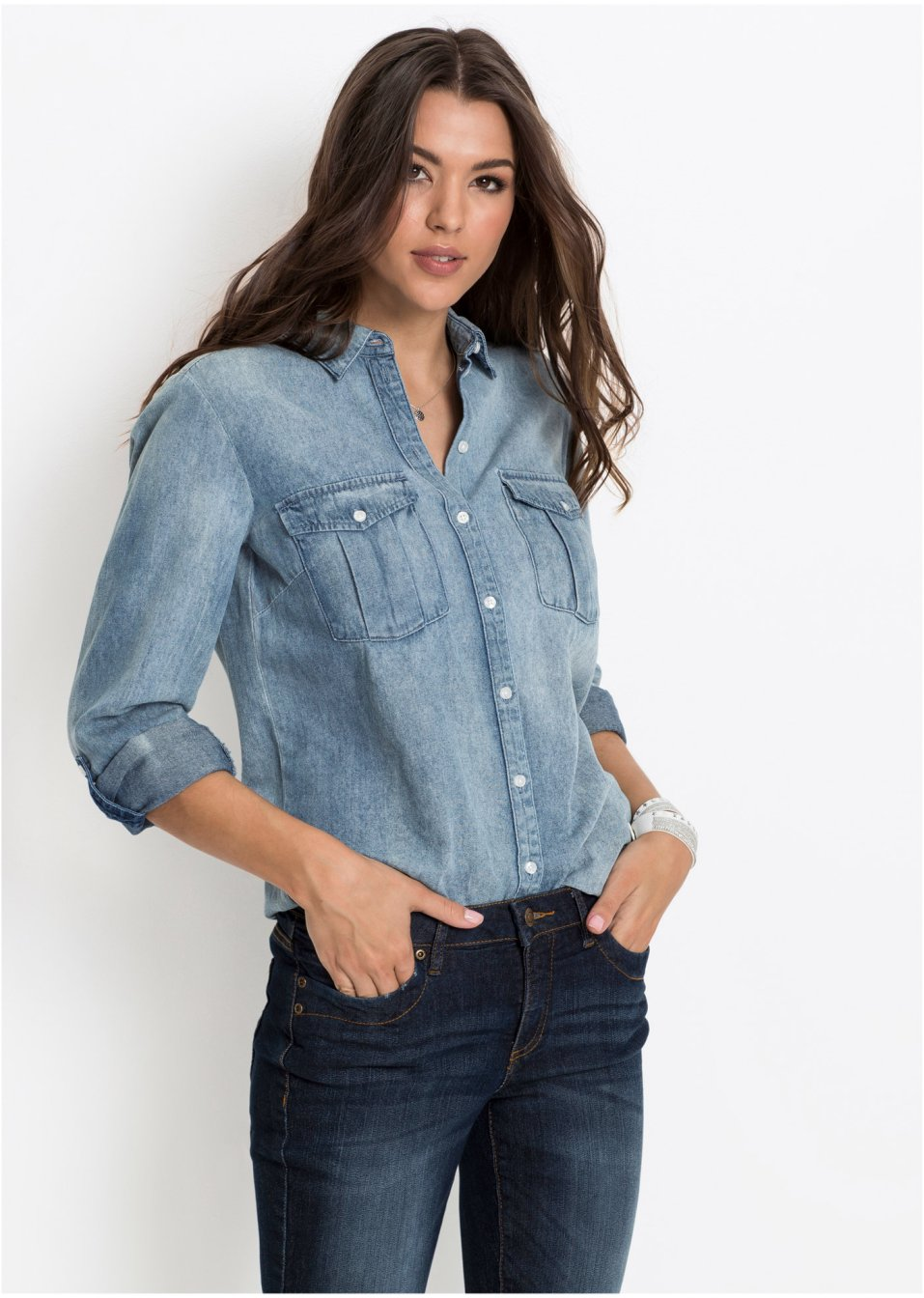 L ssiges hemd mit brusttaschen hellblau - Jeanshemd lang damen ...