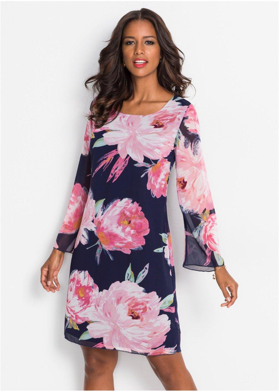 Kleid mit Blumenprint dunkelblau/rosa geblümt - Damen ...