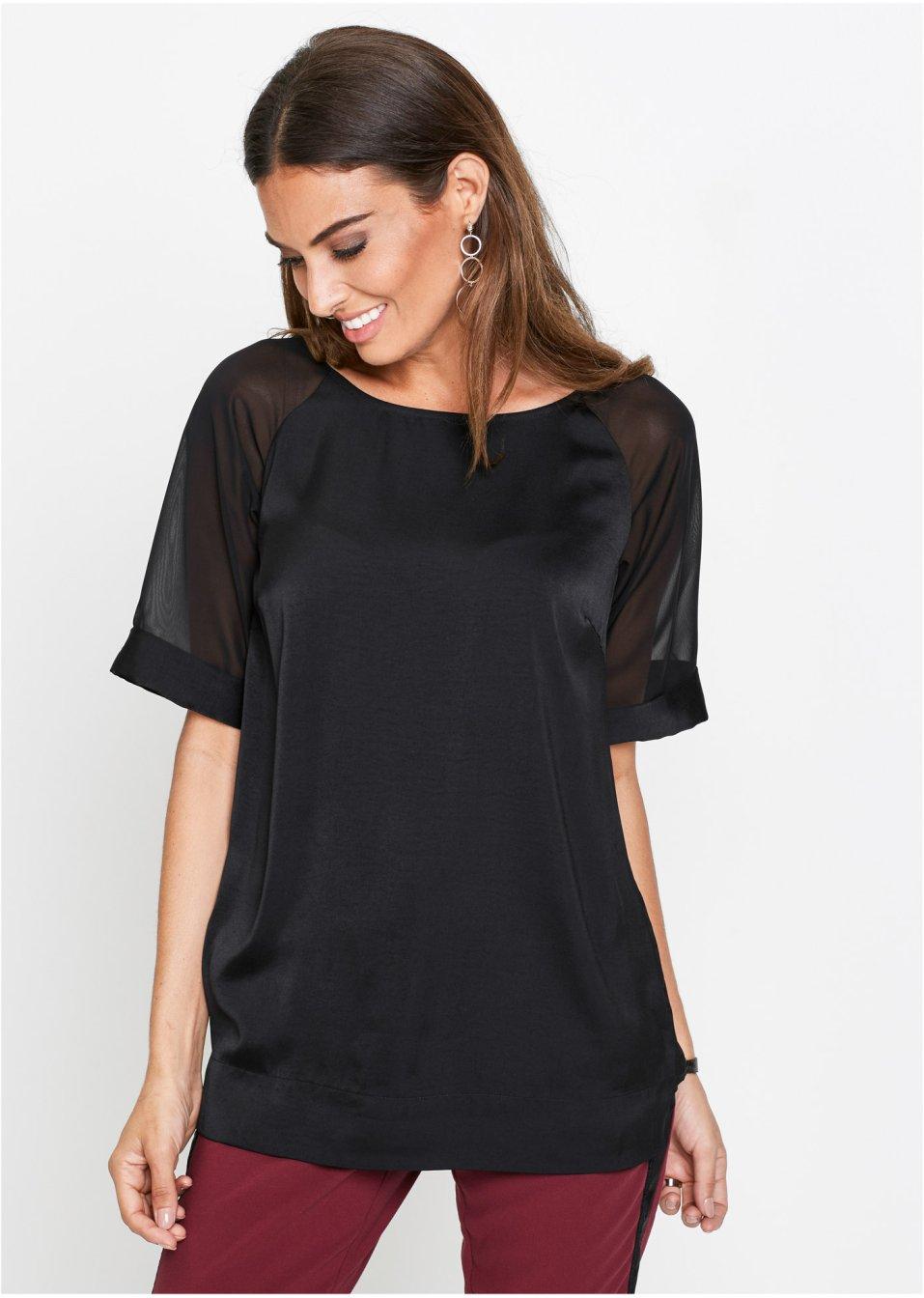 Elegante Satin-Tunika mit transparenten Ärmeln - schwarz 033e835065