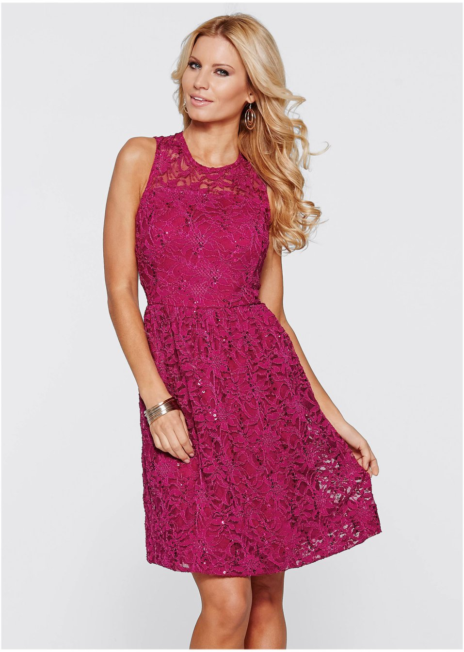 beere Spitzen Kleid Spitzen Tellerrock mit mit Kleid 76gbfmIYyv