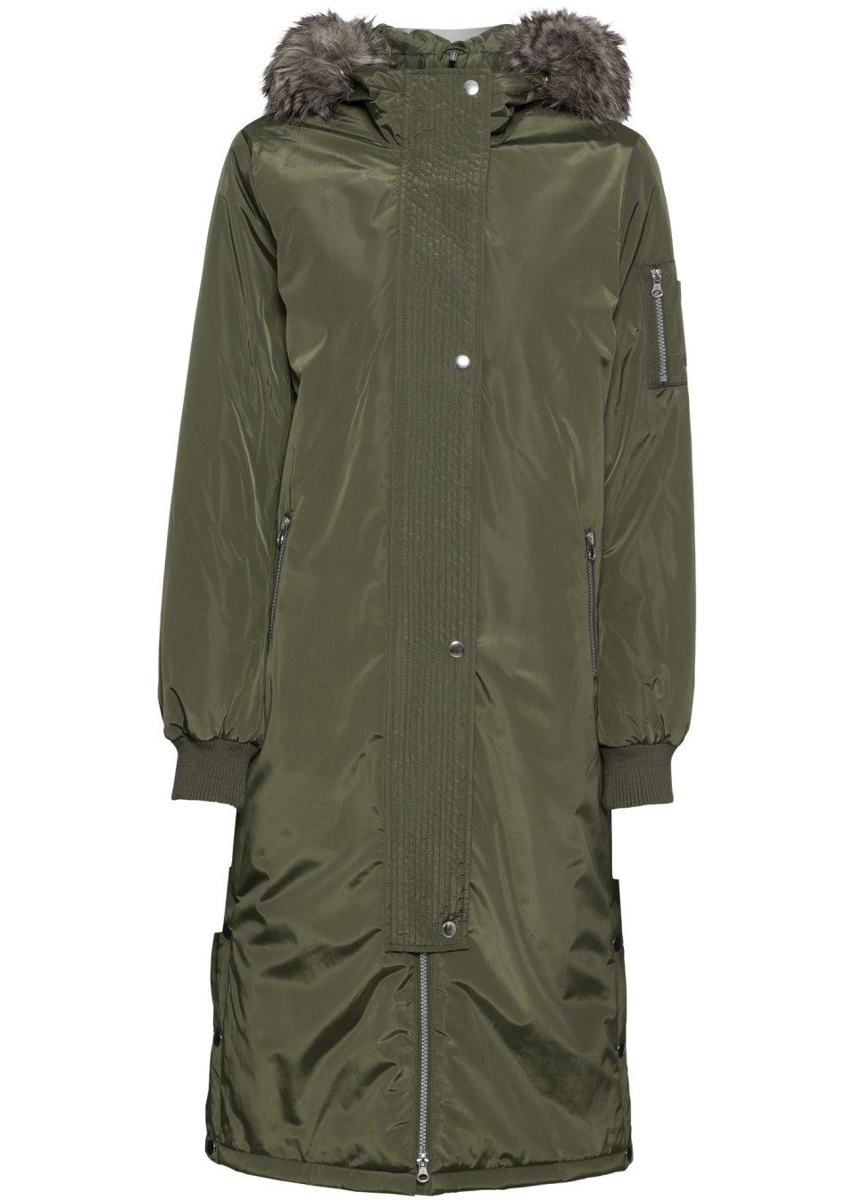 Stylisher Kapuzen-Mantel mit Saumschlitzen und Druckknöpfen - dunkeloliv rPqni RdWww