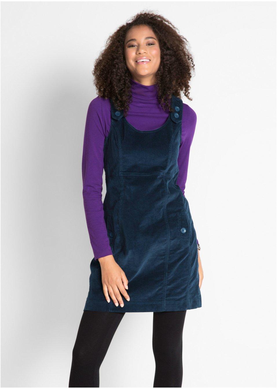 a39377db1c6ffa Kleid aus Cord mit Trägern - dunkelblau