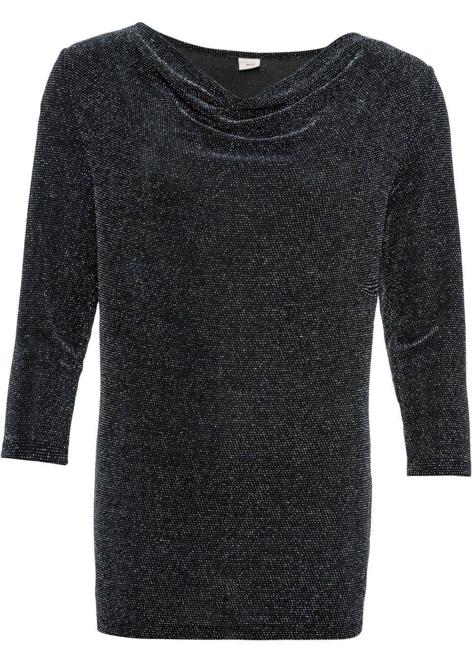 Glitzerndes Lurex-Shirt mit Wasserfallausschnitt und 3/4-langen Ärmeln - schwarz/silber chHeZ veUKz