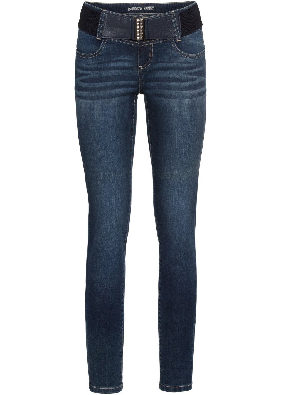 Mit Kontrastnähten gestaltete Skinny Jeans mit Gürtel und Ziersteinen - dark denim 90yr1 RxCXR