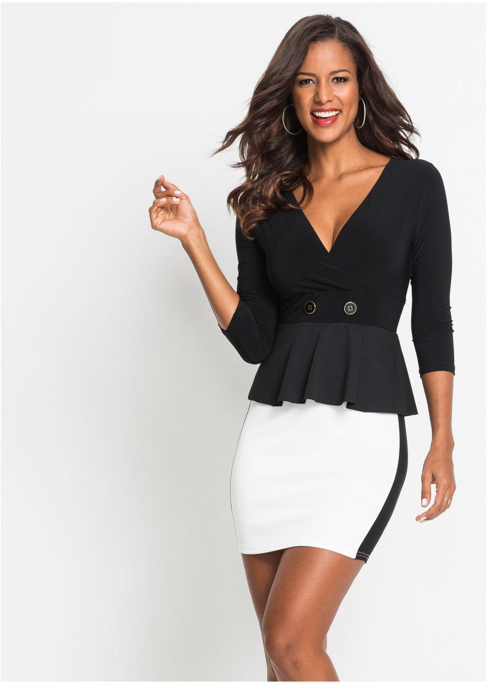 Kleid mit Schößchen schwarz/weiß - BODYFLIRT boutique ...