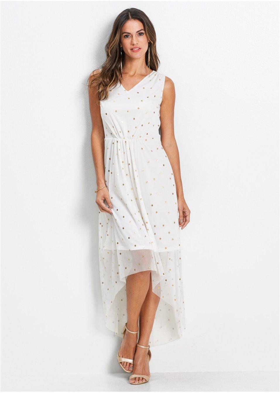 Raffiniertes Kleid aus Mesh mit Druck und Raffung an der ...