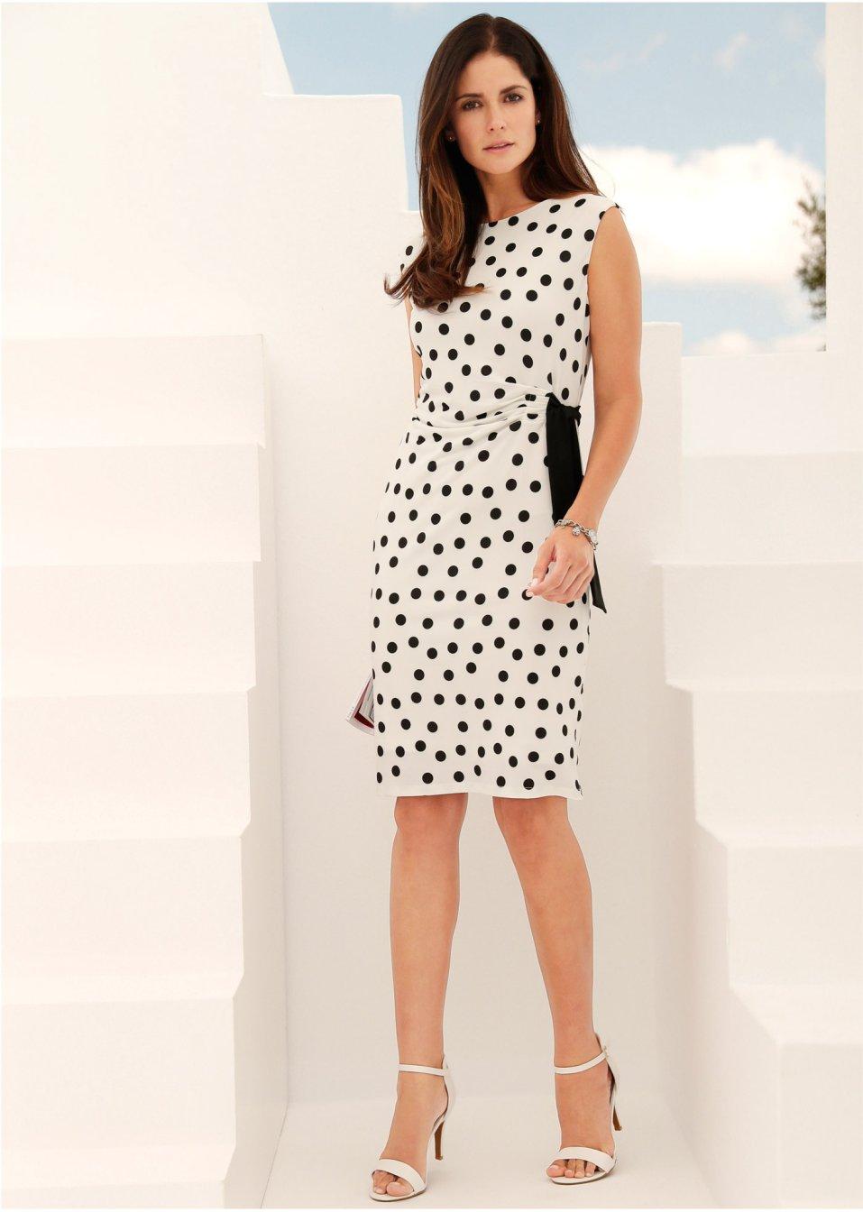 Kleid bedruckt weiß/schwarz gepunktet - bpc selection ...