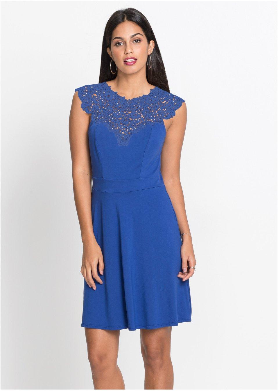 Kleid mit Spitze blau - Damen - bonprix.de
