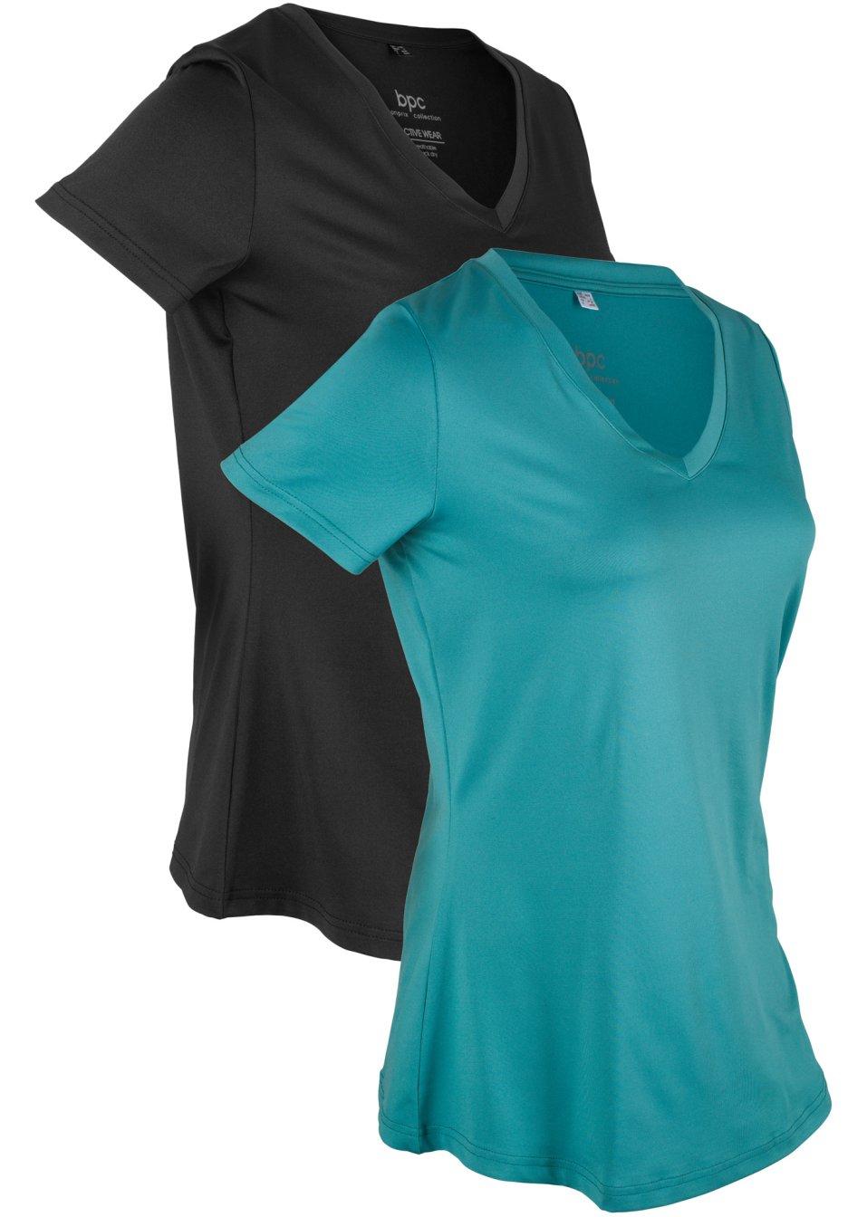 Schnelltrocknendes Sport-Shirt mit V-Ausschnitt im 2er-Pack - mattkobalttürkis/schwarz HLgkD fSv7h