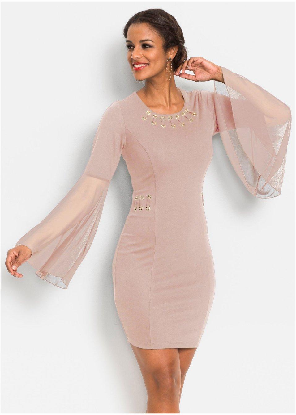 Kleid mit Ösen und Chiffon-Ärmel vintagerosa - BODYFLIRT ...