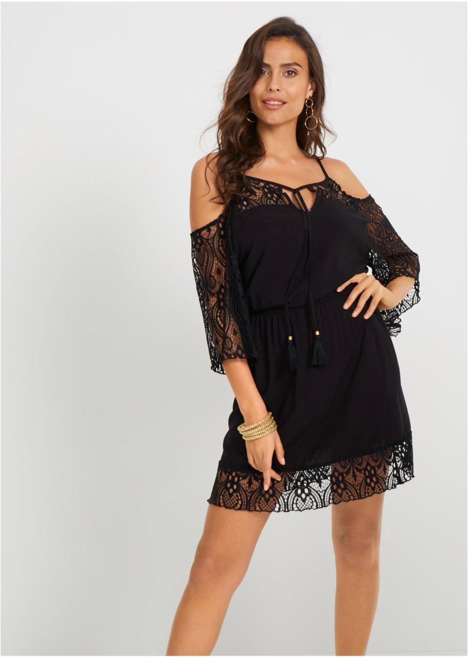 Feminines Off-Shoulder Strandkleid mit romantischen Spitzendetails - schwarz e7298d73fe