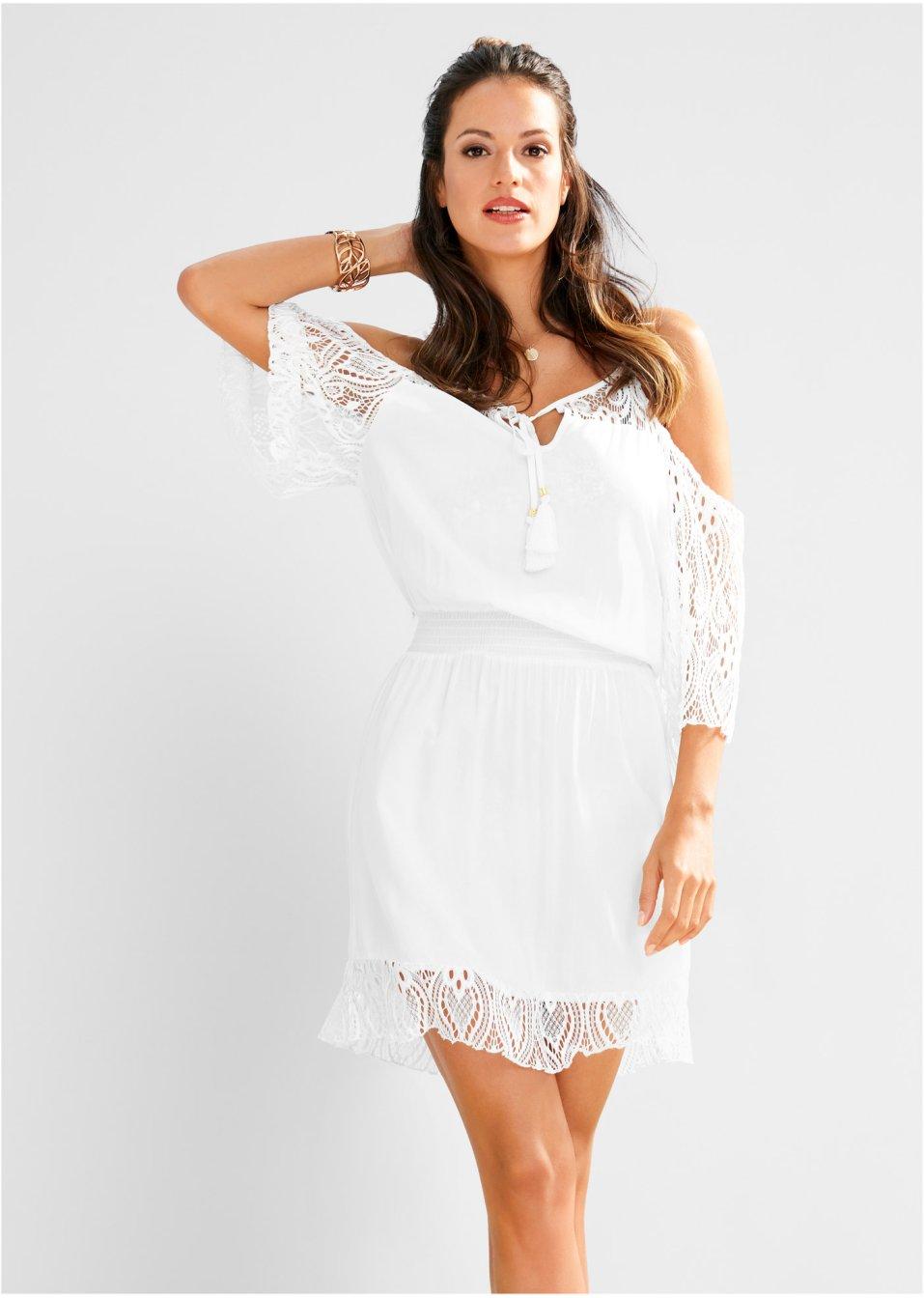 Feminines Off-Shoulder Strandkleid mit romantischen Spitzendetails - weiß 21166e2863