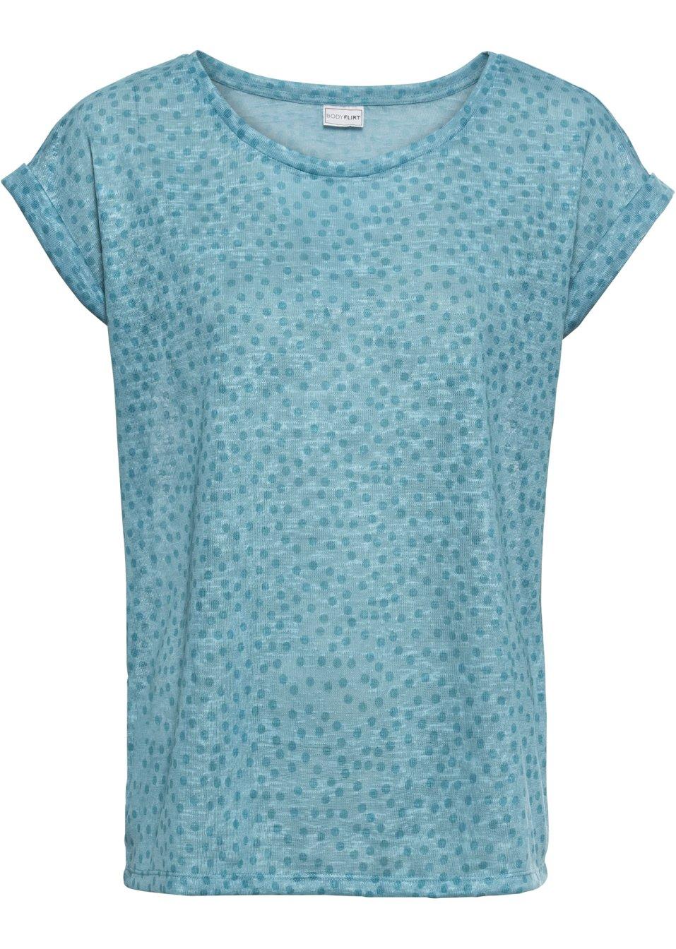 Wunderschönes Kurzarm-Shirt mit Allover-Muster und Ärmelumschlag - türkis gepunktet udZQc 2ECOR