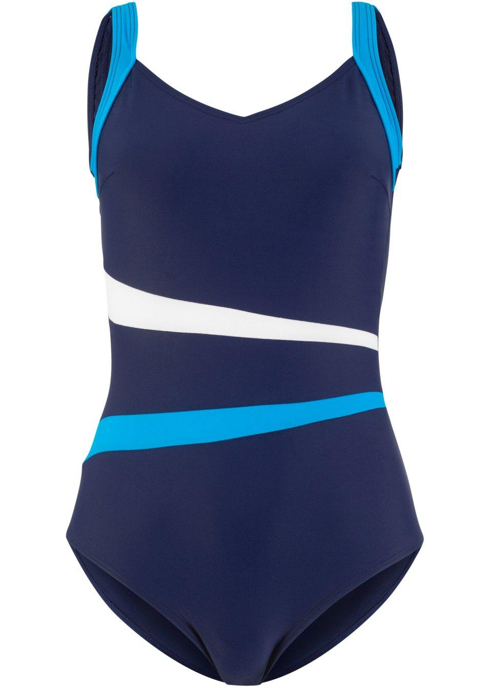 Stilvoller Badeanzug mit vielen Details - dunkelblau/weiß/türkis vIT9H 7tPkd