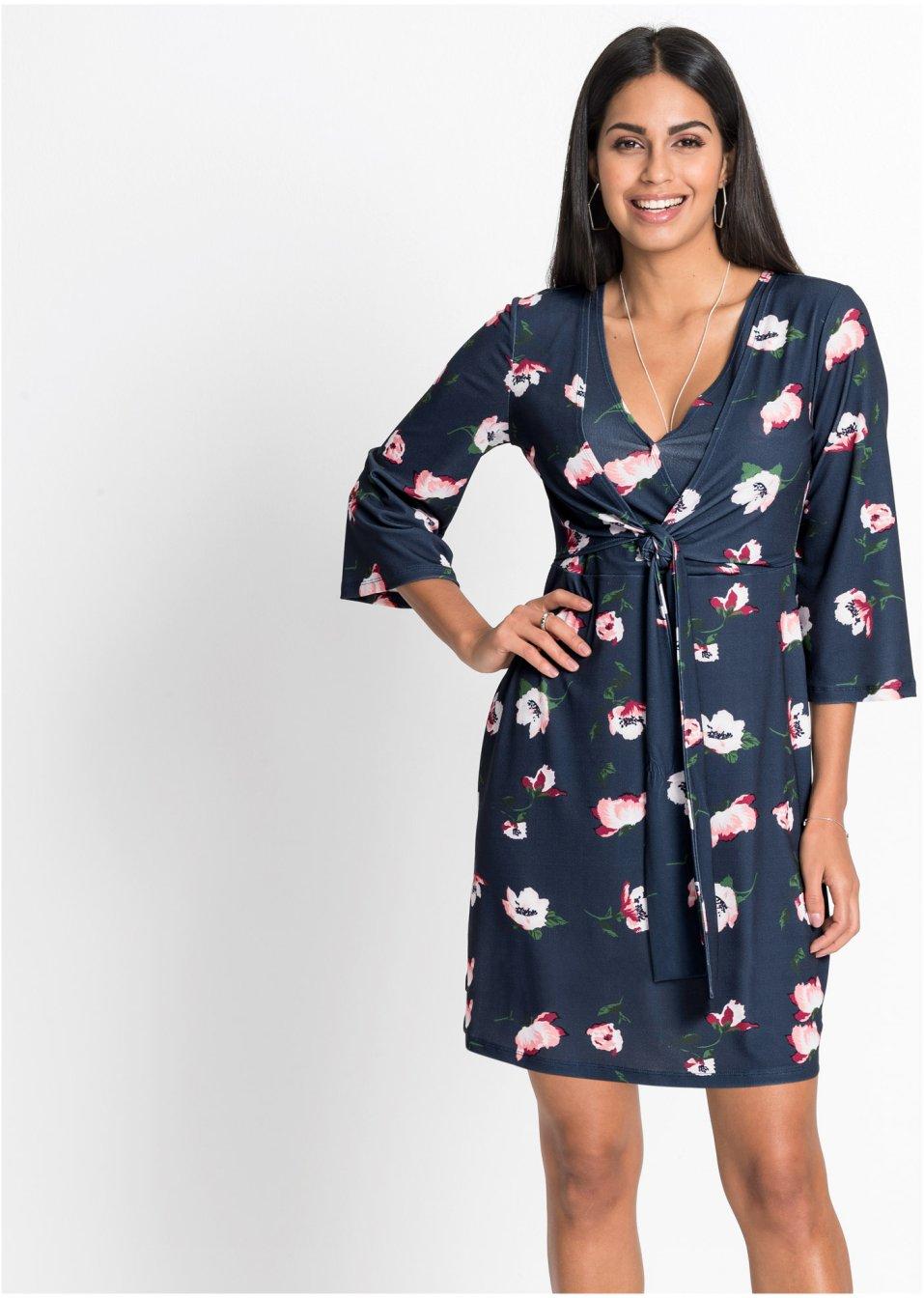 Kleid mit Wickeloptik dunkelblau floral - BODYFLIRT online ...