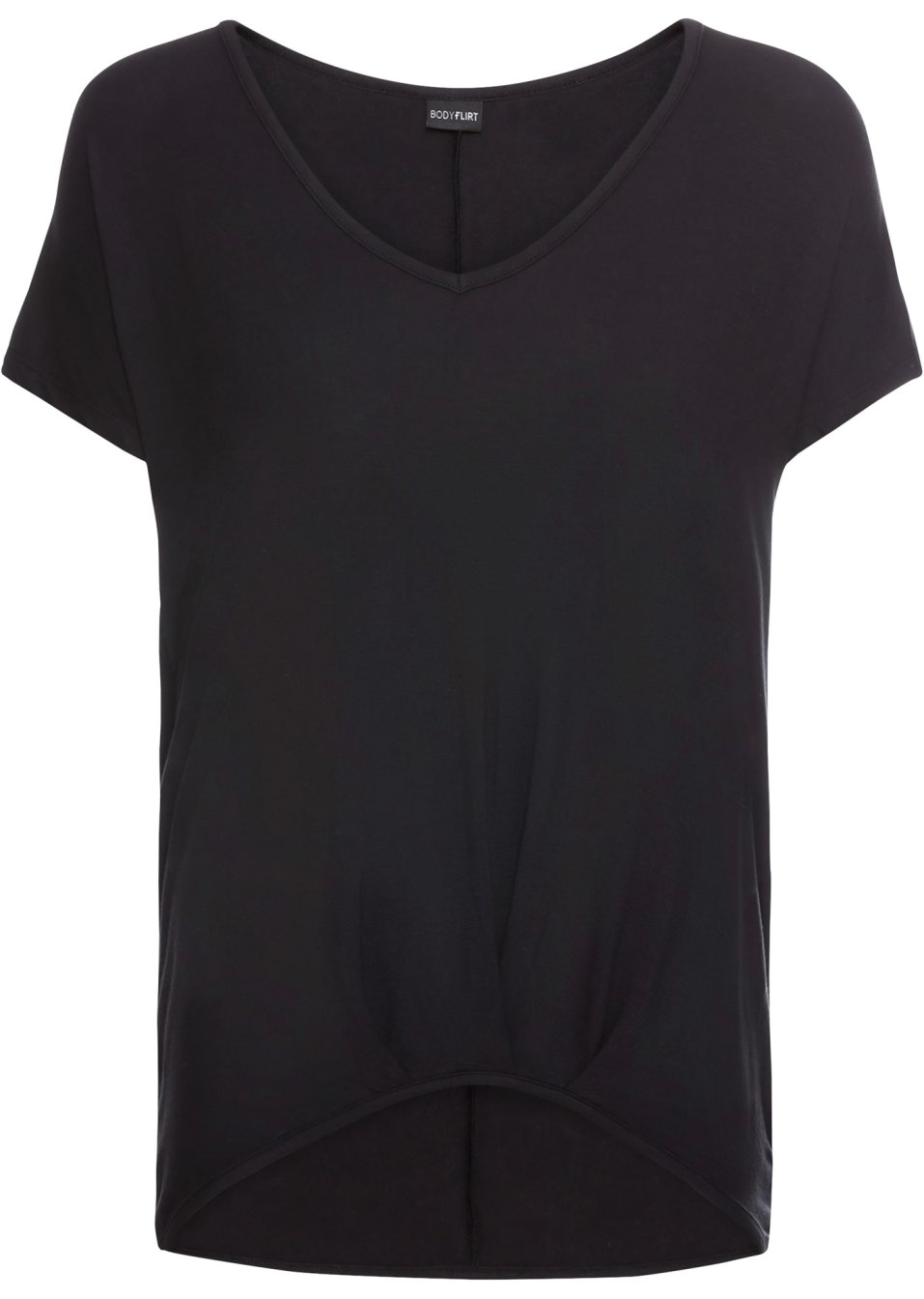 Hübsches Jersey-Shirt mit eingearbeiteten Falten und V-Ausschnitt - schwarz pZWHC MCo0W