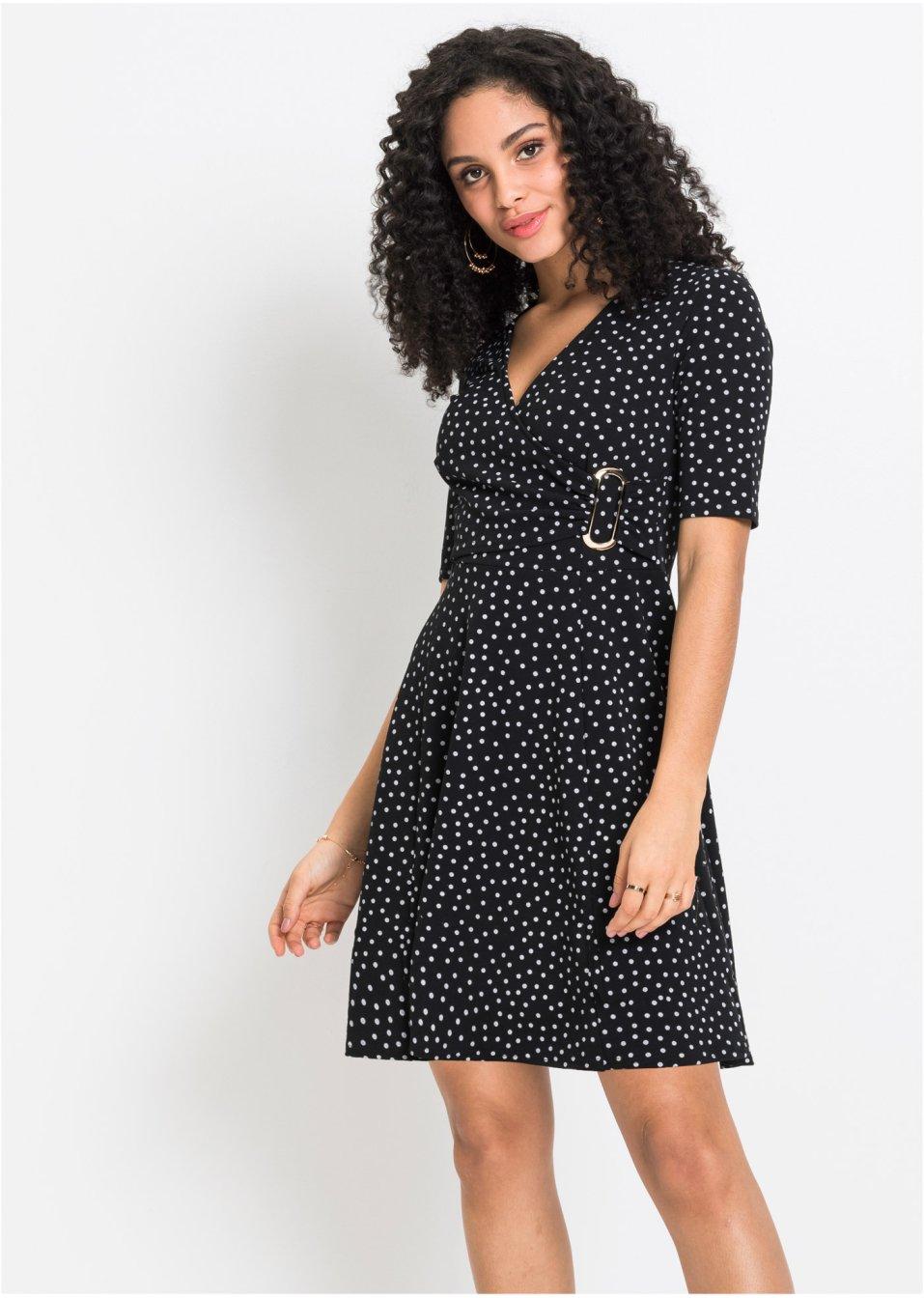 Kleid mit Punkten schwarz/wollweiß gepunktet - Damen ...
