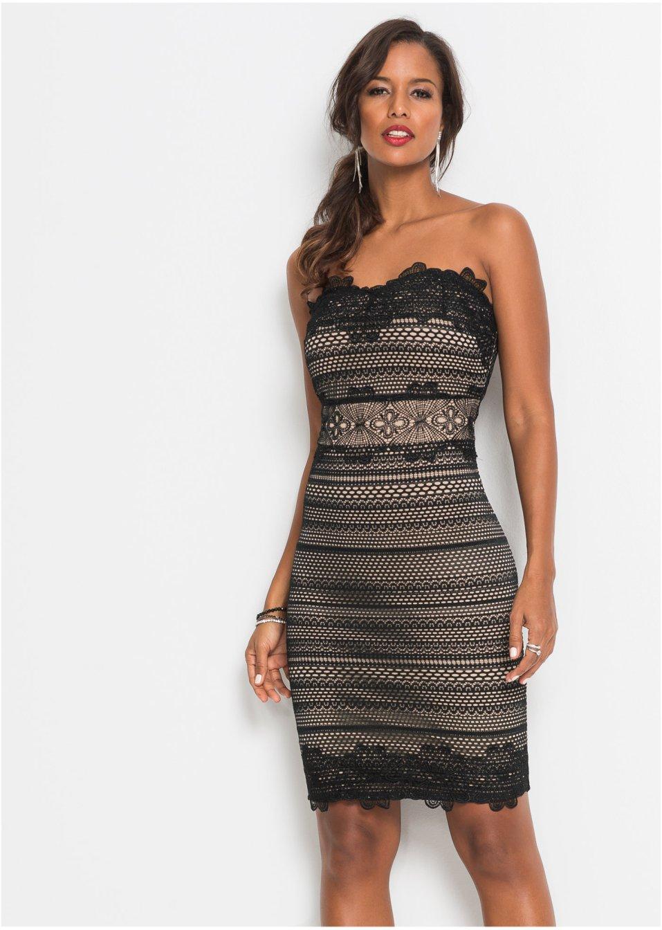 Bandeau-Kleid mit Spitze schwarz/hellbraun - BODYFLIRT ...