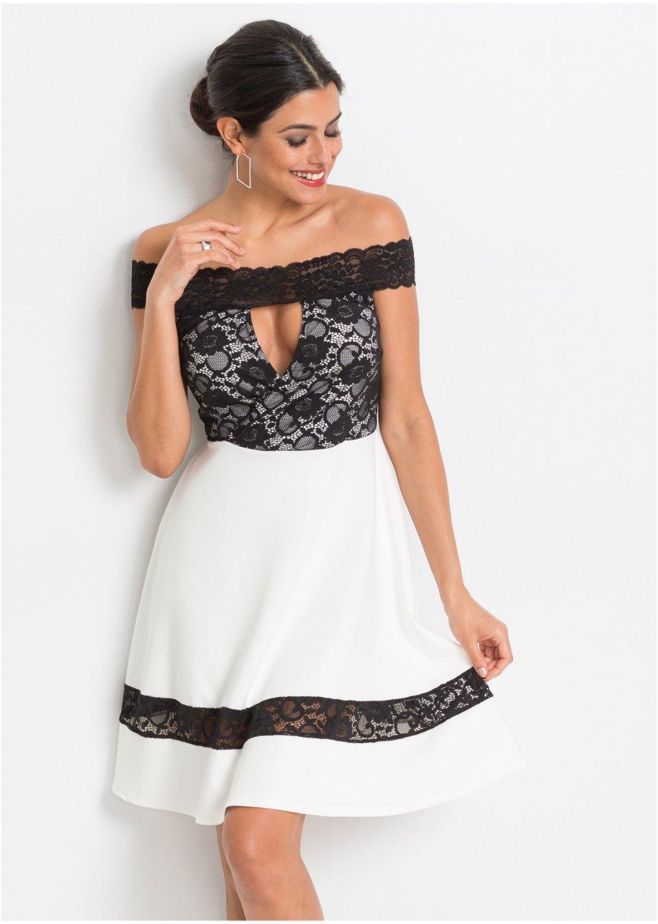 Carmen-Kleid und Spitze weiß/schwarz - Damen - BODYFLIRT ...