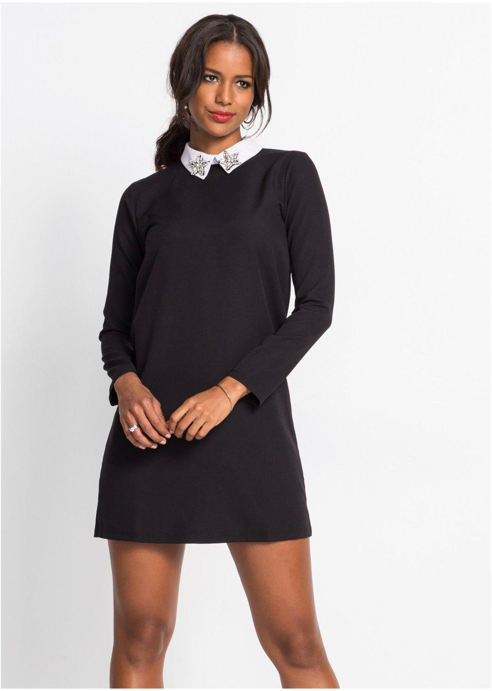 Langärmliges Jersey-Kleid mit Kragen und Applikation ...