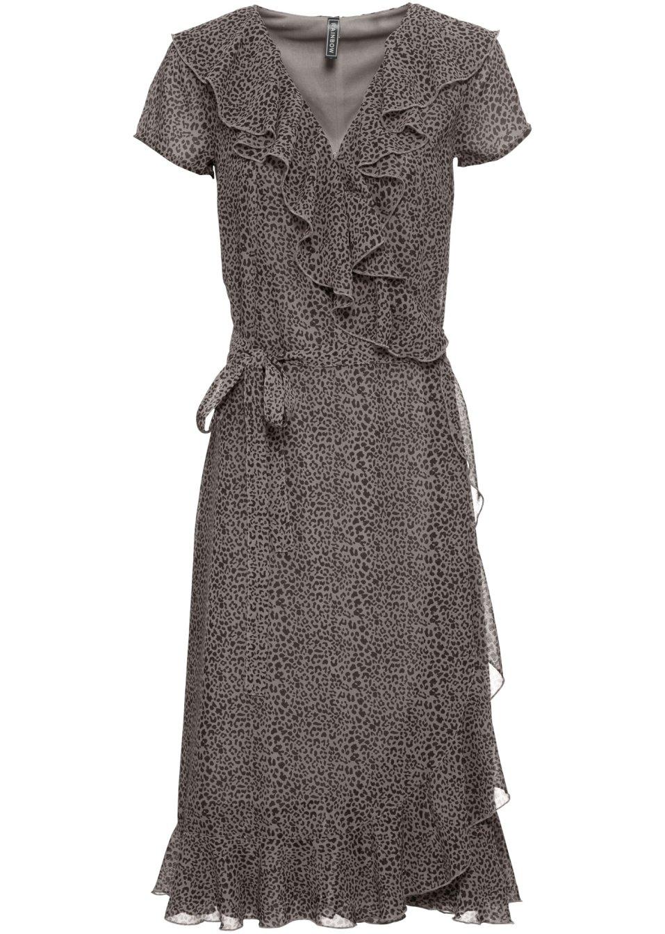 Verspieltes Kleid mit Volants - taupe leo bedruckt z3IN2 9FJll