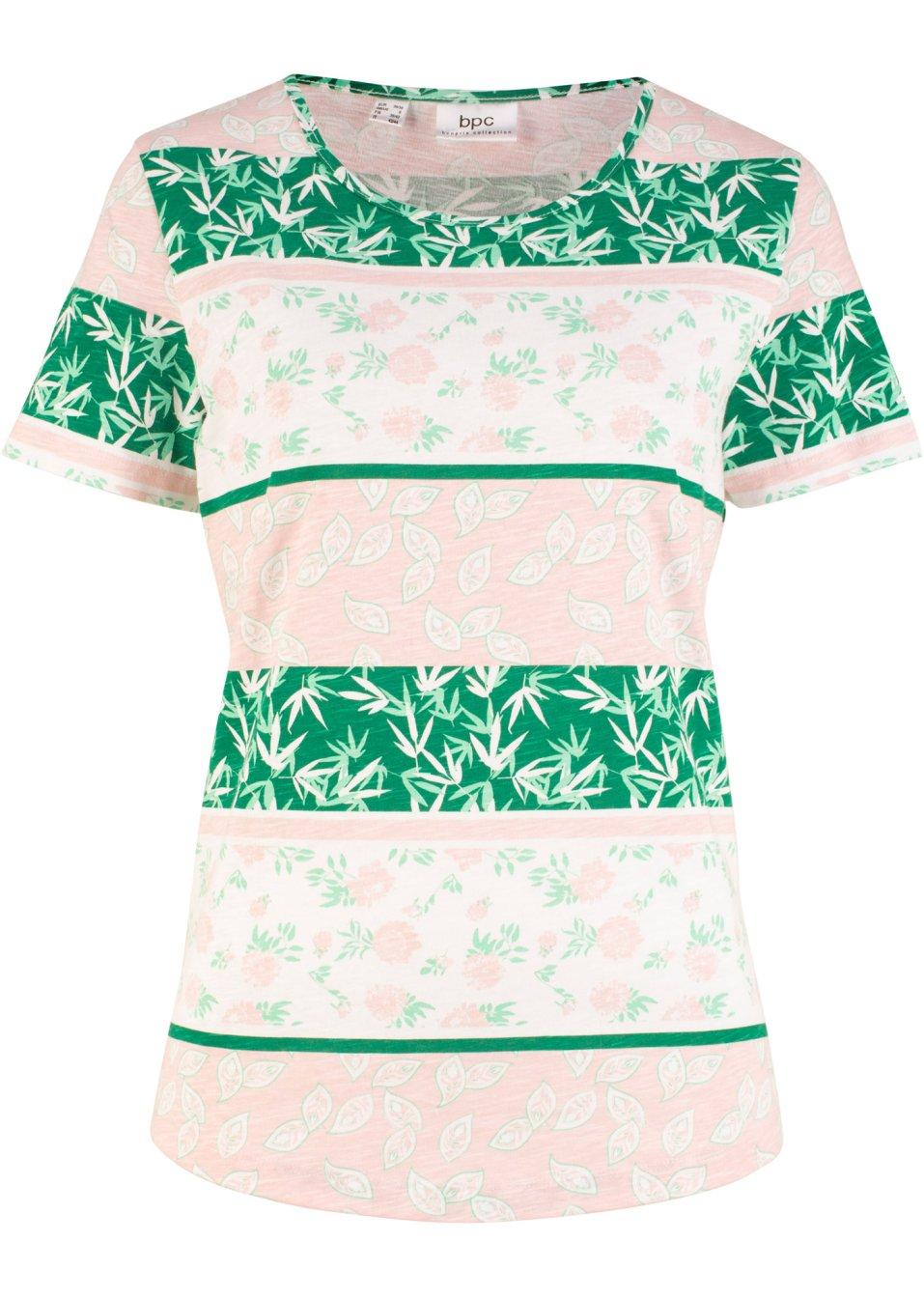 Lässiges Shirt aus Baumwolle und mit abgerundetem Saum - minzegrün geblümt S8Gxa bE2kB