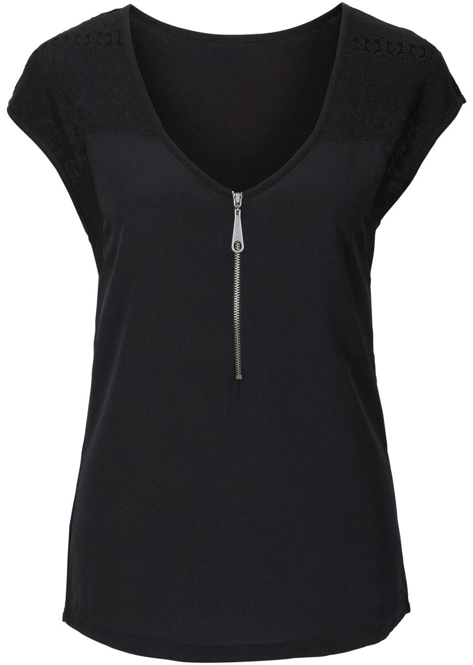 Originelles Shirt mit Reißverschluss und hübschen Spitzeneinsätzen - schwarz cqWSC 6nA9U