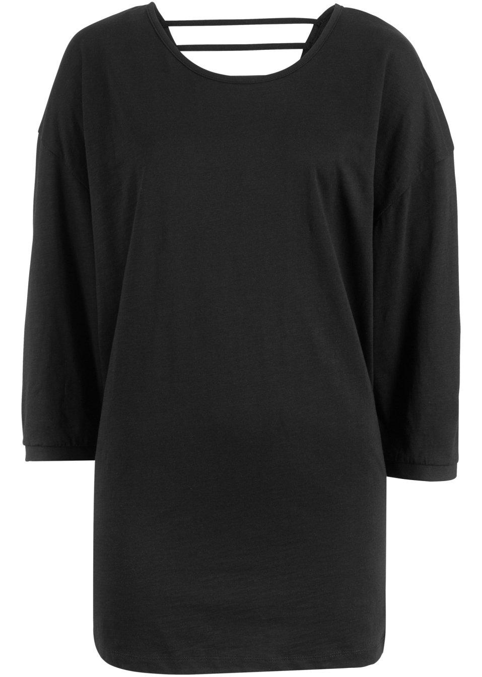 Baumwoll-Shirt mit dekorativem Rücken 3/4-Arm mit überschnittenen Schultern - schwarz GoWjw FyMy3