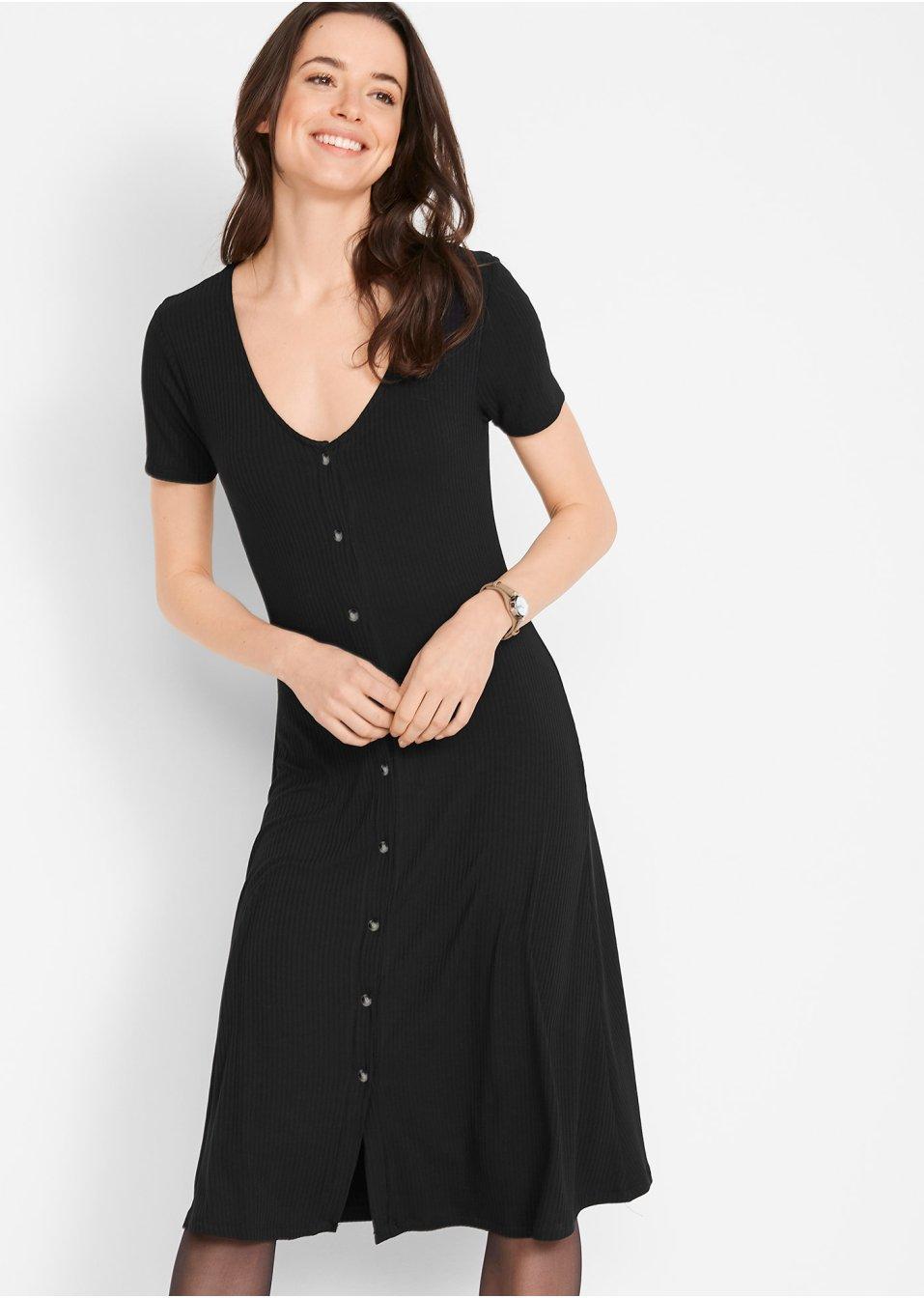 Modernes Kleid in Midi- Länge mit Knopfdetails - schwarz