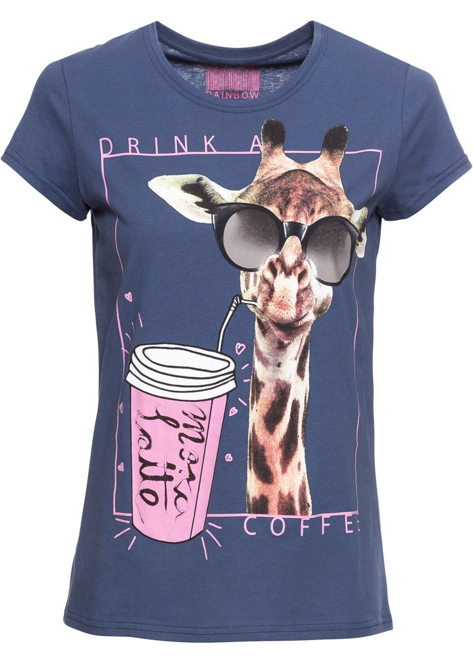 Angesagtes T-Shirt mit auffallendem Frontdruck - indigo bedruckt 0JigB PprHJ