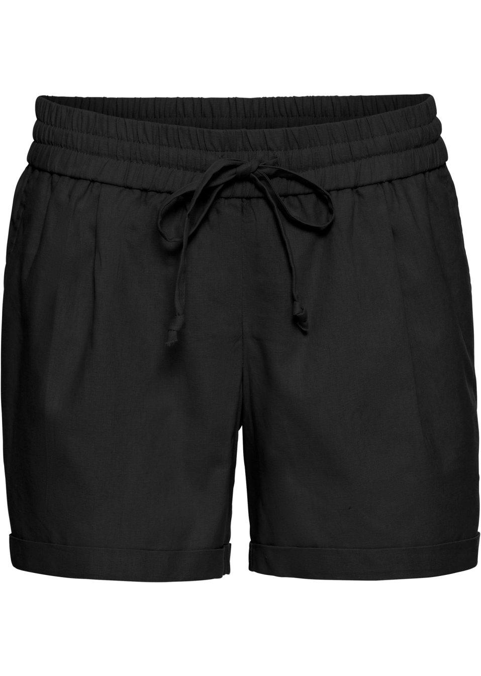Lässige Leinen-Shorts mit flexiblem Bund - schwarz QZmR4 fZgp5