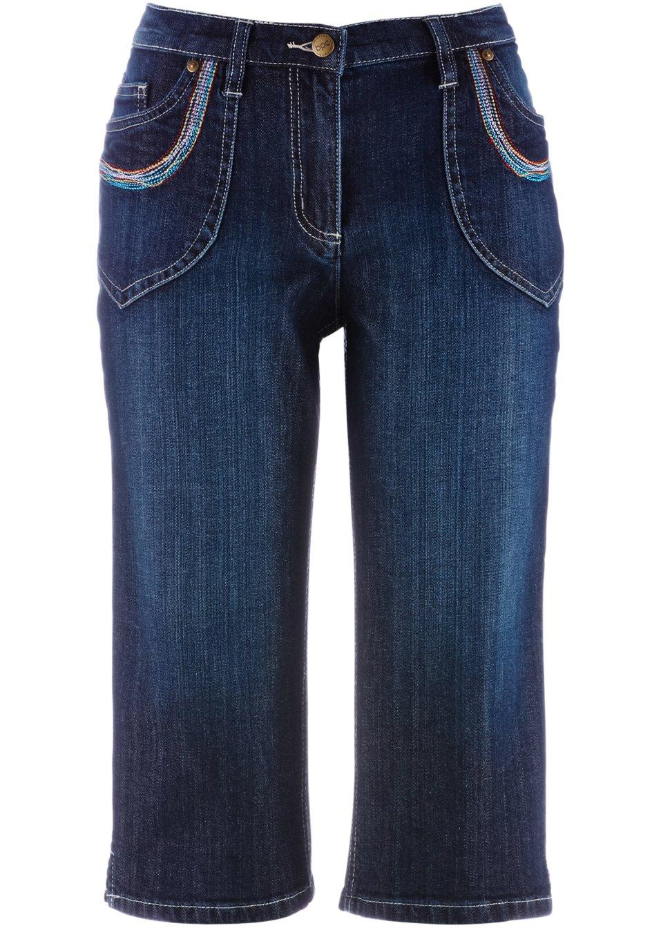Elastische Jeanshose mit bunten Nähten und Stickerei - darkblue stone iKzuV Z43c9