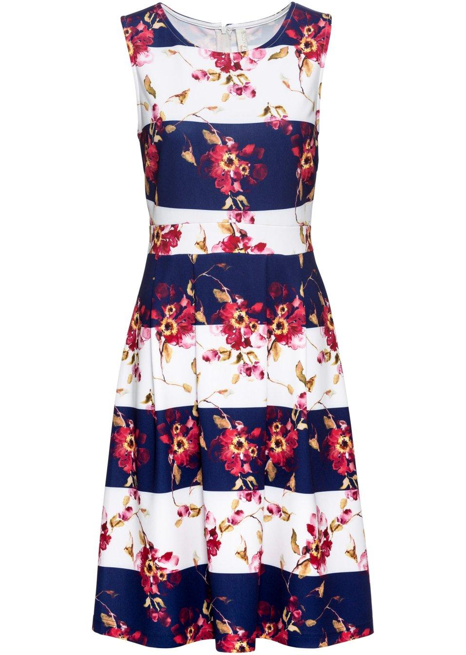 Ärmellos geschnittenes Kleid mit schwungvollem Rock - blau/weiß gestreift 7jeqk j744U
