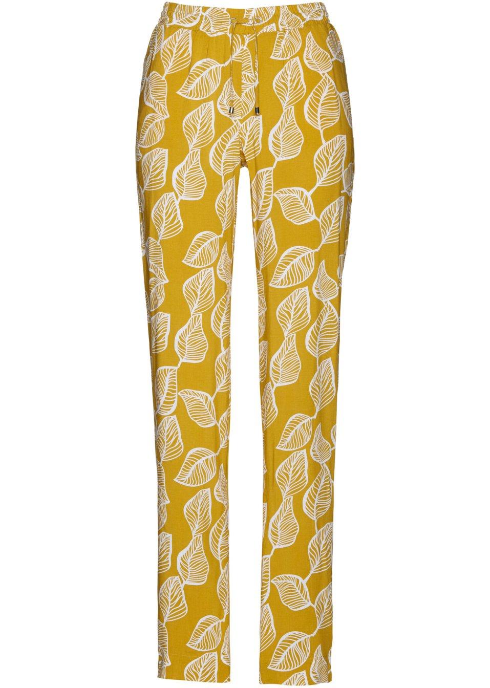 Ansprechende Gummizugbund-Hose mit ausgestelltem Bein und Alloverdruck - senfgelb/weiß bedruckt aD7pn VcpaU