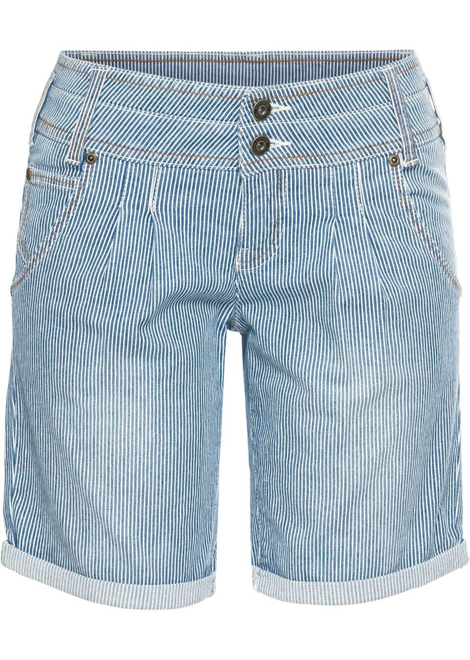 Coole Jeansshorts mit stylishen Details - blau gestreift qdGn5 cImF3