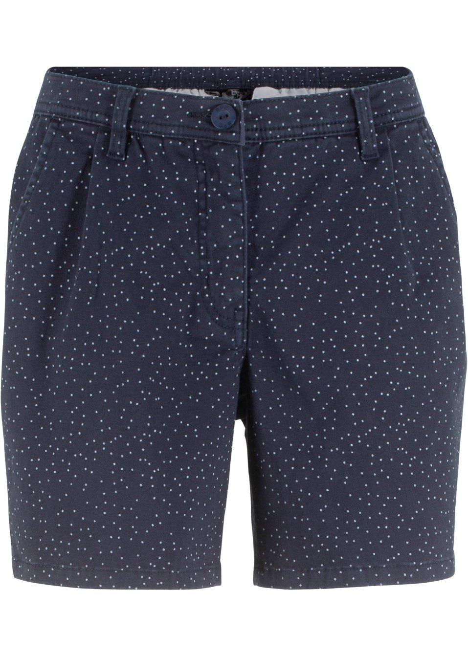 Stretch-Shorts mit Elastik-Einsatz hinten am Bund seitliche Eingrifftaschen - dunkelblau/weiß gepunktet TRLMD F56fR